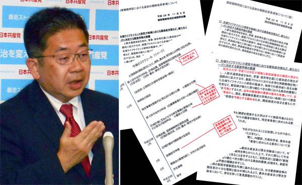 共産党の小池書記局長(左)と新資料/(C)日刊ゲンダイ