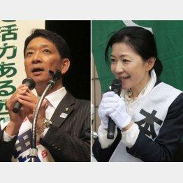田村利光(左)と清水康子/(C)日刊ゲンダイ