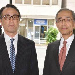 急きょ頭取に就任する三毛兼承副頭取(左)と平野信行CEO