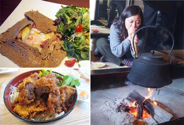 ガレットと鹿肉ソースカツ丼、右は飯島陣屋のいろり(C)日刊ゲンダイ
