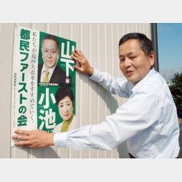 ヤル気マンマンの山下候補(C)日刊ゲンダイ