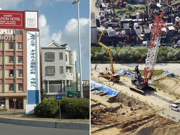 今治市役所(左)と建設が進む加計学園の獣医学部新設予定地/(C)共同通信社