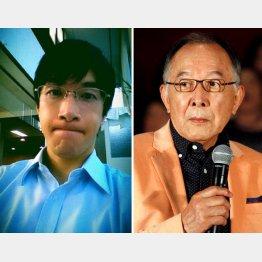 俳優の橋爪功(右)と遼容疑者(本人公式ブログから=現在は閉鎖)