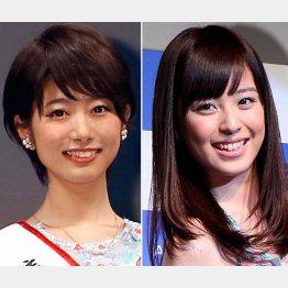 フジテレビの海老原優香アナ(左)と久慈暁子アナ(C)日刊ゲンダイ