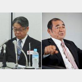 会見した助野HD社長(左)と富士ゼロックス会長を兼務する古森HD会長/(C)日刊ゲンダイ
