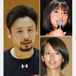 (左から時計回りに)田臥勇太、竹内由恵アナ、前田有紀元アナ(C)日刊ゲンダイ