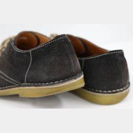 記者の靴は左足の外側が減っていた(C)日刊ゲンダイ