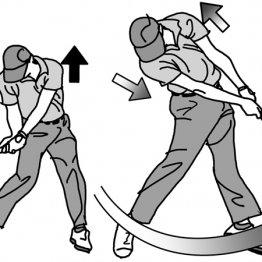 インパクトゾーンで左肩が引き上がるとヘッドが走る