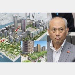 東京五輪大会後のイメージ図と舛添前都知事(C)日刊ゲンダイ