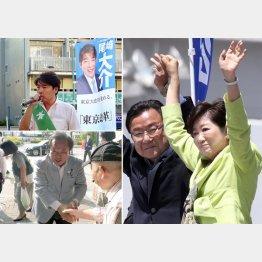 (左上から時計回りに)尾崎、中島、栗山3候補/(C)日刊ゲンダイ