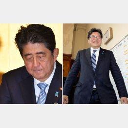 安倍首相(左)と萩生田副長官/(C)日刊ゲンダイ
