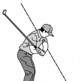 ダウンスイングでシャフトは前傾した背骨に対しほぼ垂直
