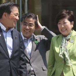 街宣車の上で談笑する長島氏、若狭氏と小池知事