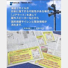 ミサイルからの避難を呼びかけるテレビCM(上)と新聞広告/(C)日刊ゲンダイ