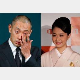 妻・麻央さんの死去についての会見で涙を見せた海老蔵(C)日刊ゲンダイ