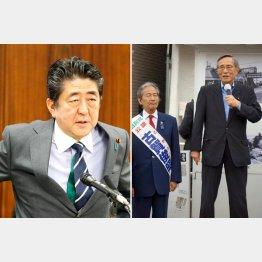 安倍首相(左)と都議選(細田総務会長と古賀俊昭候補)/(C)日刊ゲンダイ