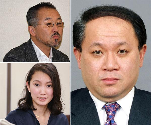 中村格氏(右)と元TBS記者・山口敬之氏とフリージャーナリスト詩織さん/(C)共同通信社