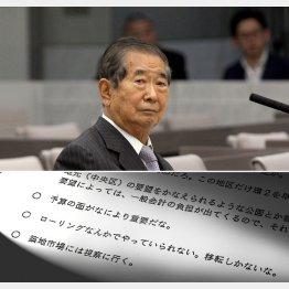 石原慎太郎都知事と文書(C)日刊ゲンダイ