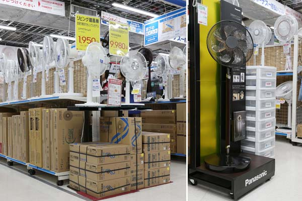 家電量販店の扇風機売場(右はパナソニックの高級機種)/(C)日刊ゲンダイ