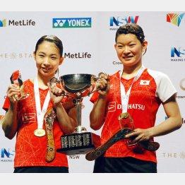 25日の豪オープン女子ダブルスで優勝したタカマツペア(C)共同通信社