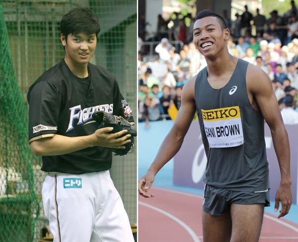 大谷翔平(左)とサニブラウン(C)日刊ゲンダイ