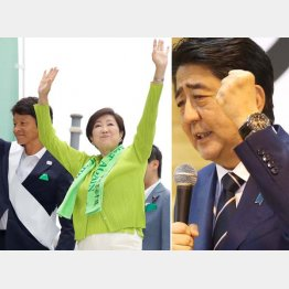 白戸太朗候補の応援に駆けつけた小池知事(左)と安倍首相(C)日刊ゲンダイ