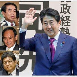 左上から下村元文科相、菅官房長官、萩生田官房副長官と安倍首相(右)/(C)日刊ゲンダイ