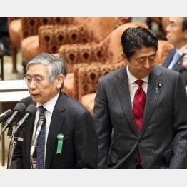黒田日銀総裁(左)と安倍首相/(C)日刊ゲンダイ