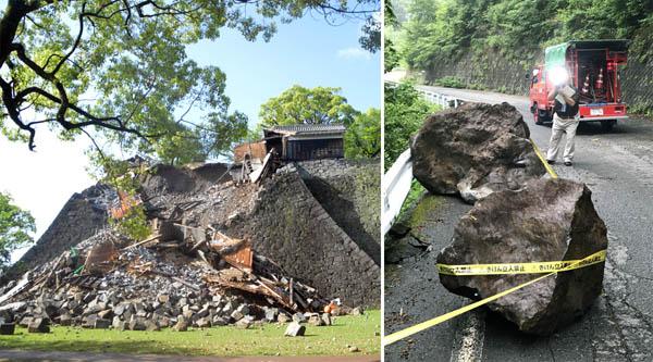 6月25日に発生した長野県南部の地震(右)も熊本地震と関係が(C)共同通信社
