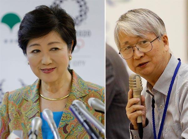 市場問題PT座長の小島敏郎氏(右)と小池百合子知事/(C)日刊ゲンダイ