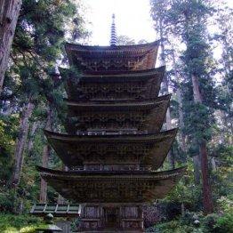 国宝・五重塔の存在感 体もヒヤリとする山岳修験の霊場