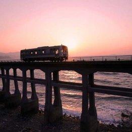 幻想的な光と影 「日本海に沈む夕日を高架下からも」