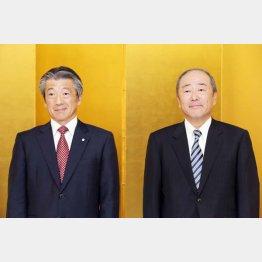出光興産の月岡社長(右)と昭和シェルの亀岡社長/(C)日刊ゲンダイ