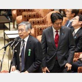 安倍首相(右)と黒田日銀総裁/(C)日刊ゲンダイ