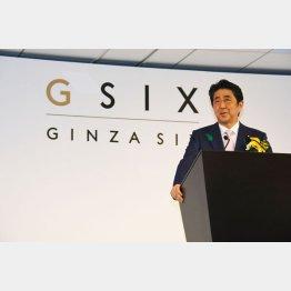 ギンザシックスのオープニングセレモニーで挨拶する安倍首相(C)日刊ゲンダイ