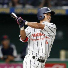 本塁打を放つ日立製作所・田中