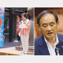 自公推薦の林文子市長(左)と菅官房長官(C)日刊ゲンダイ