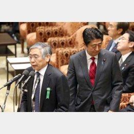 脱デフレはどこへ...(安倍首相と日銀の黒田総裁)/(C)日刊ゲンダイ