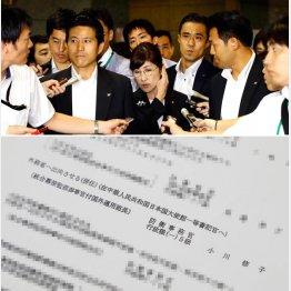 28日午前、官邸に向かう稲田防衛相(C)日刊ゲンダイ