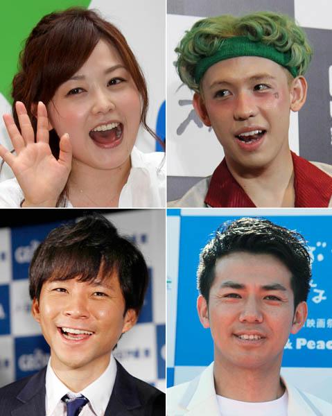 左上から時計回りに、水卜アナ、りゅうちぇる、綾部祐二、渡部健(C)日刊ゲンダイ