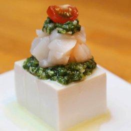【ホタテと豆腐のわけぎソース】ソースが肝