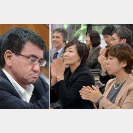 河野外相(左)と谷査恵子氏(右)(C)横田一