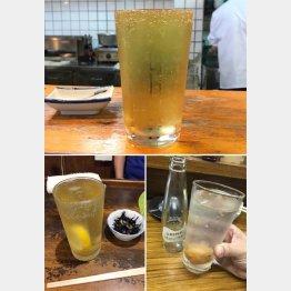 写真上から右回りにH酒場の焼酎ハイボール、やきとりDのうめハイ、大衆酒場Kの焼酎ハイボール(C)日刊ゲンダイ