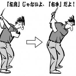 体が硬くなったらバックスイングは右腰と右肩を後ろに引く