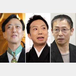 左から、板東玉三郎、市川猿之助、野田秀樹(C)共同通信社