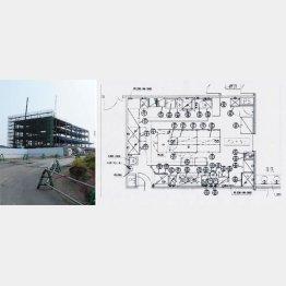 これが7階「パントリー」の図面(右)、建設中の獣医学部キャンパスは丘の上にある/(C)日刊ゲンダイ