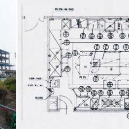 これが7階「パントリー」の図面(右)、建設中の獣医学部キャンパスは丘の上にある