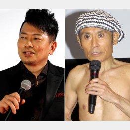 不倫が報じられた宮迫博之(左)と離婚していた片岡鶴太郎/(C)日刊ゲンダイ