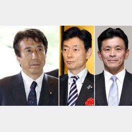 左から斎藤健農相、西村康稔官房副長官、上月良祐農水政務官(C)共同通信社