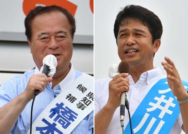 現職の橋本候補(左)と自公推薦の大井川候補(C)日刊ゲンダイ